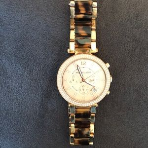Michael Kors watch- pink and muted leopard